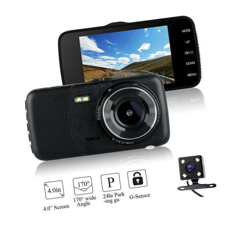 4'' HD 1080P Dual Lens Car DVR Front and Rear Camera Video Dash Cam Recorder 170