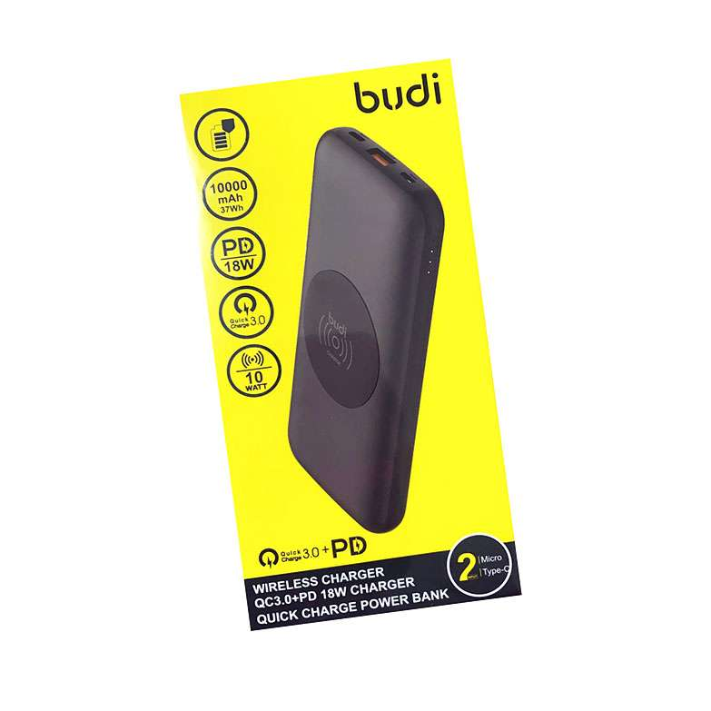 BUDI WIRELESS PD18 FAST CHARGING 10000mAh QUICK CHARGE 3.0 POWER BANK