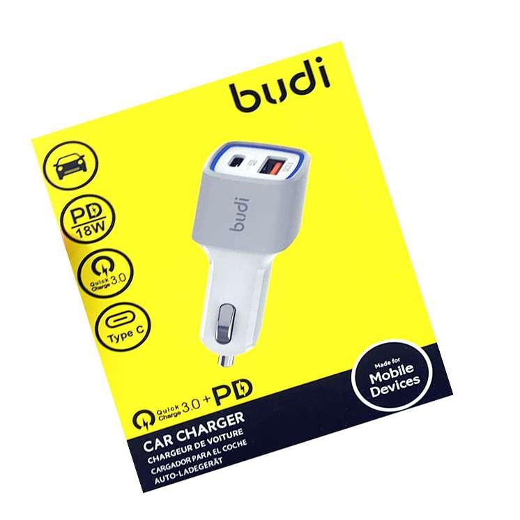 BUDI USB C 36WATT 2 PORT CAR ADAPTER WITH 18W PD AND QC 3.0 FAST CHARGER PLUG