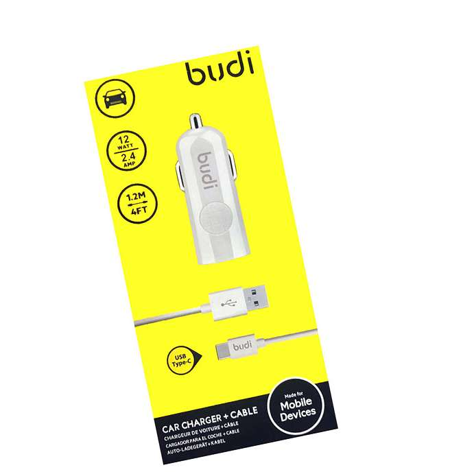 BUDI 2 USB DUAL PORT 2.4A FAST CAR CHARGER USB PLUG WITH TYPE C CABLE